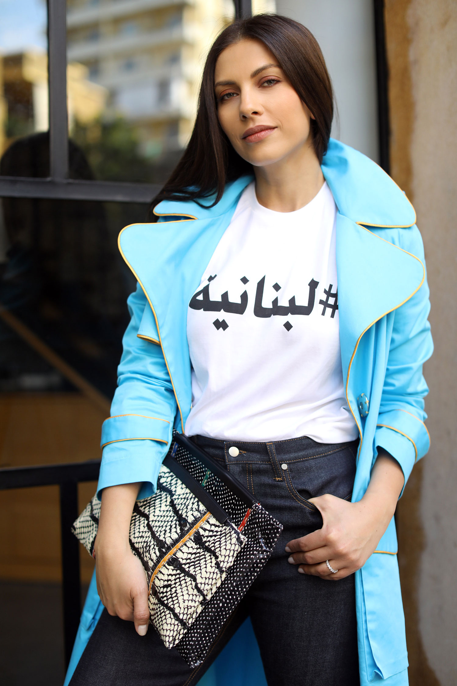Statement coat and graphic tshirt